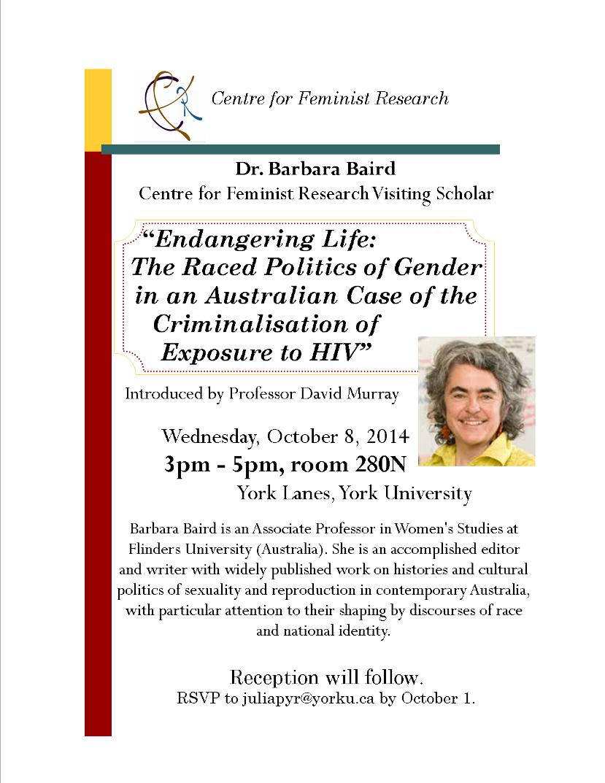 Visiting Scholar Dr. Barbara Baird's Talk @ 280N York Lanes   Toronto   Ontario   Canada