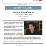 Graduate Student Seminar by Sevasti Trubeta November 21, 2012