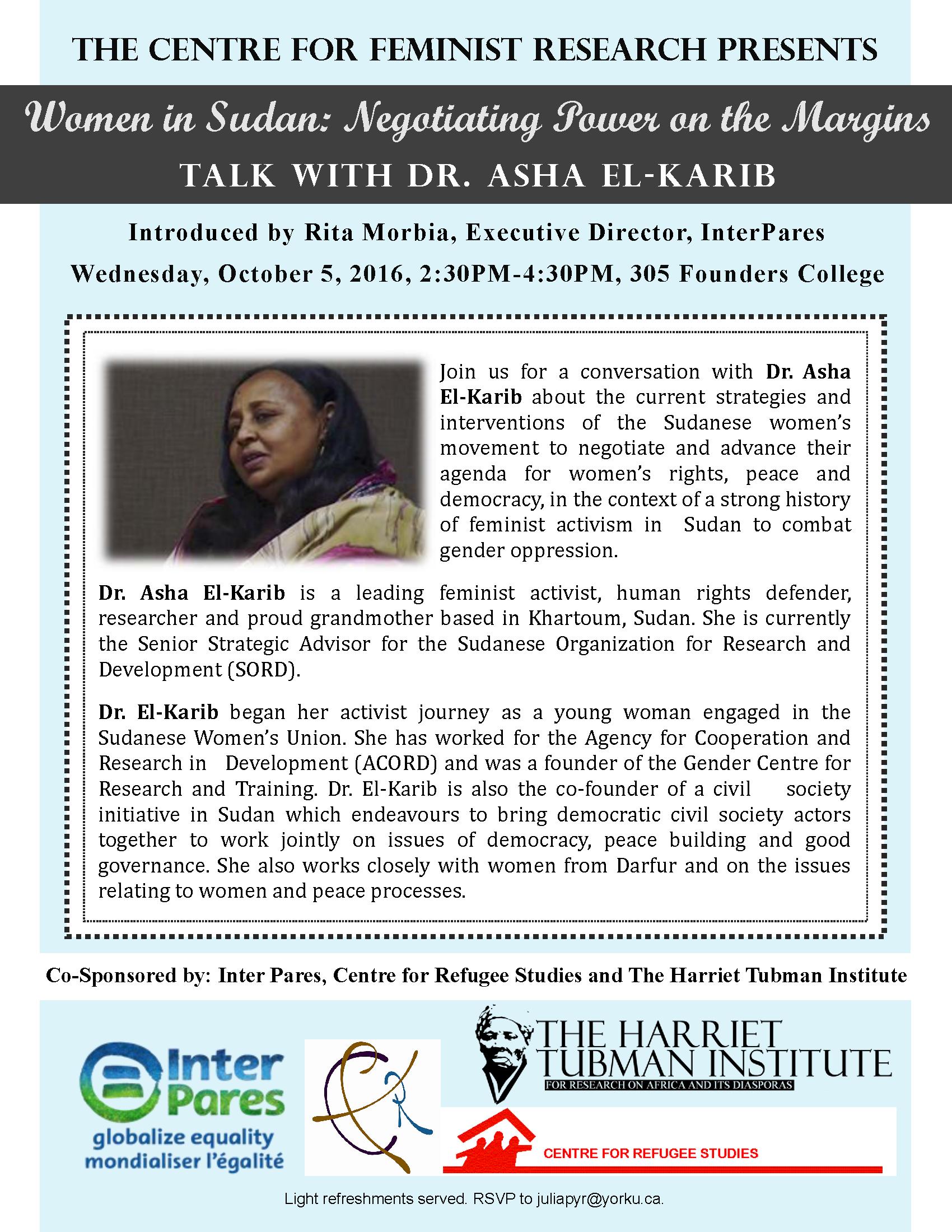 Women in Sudan: Negotiating Power on the Margins: Talk with Dr. Asha El-Karib @ Founders College 305