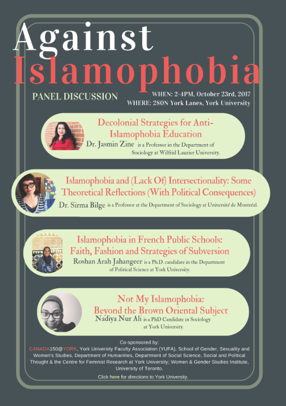 Against Islamophobia Panel Discussion, October 23 @ 280N York Lanes | Toronto | Ontario | Canada
