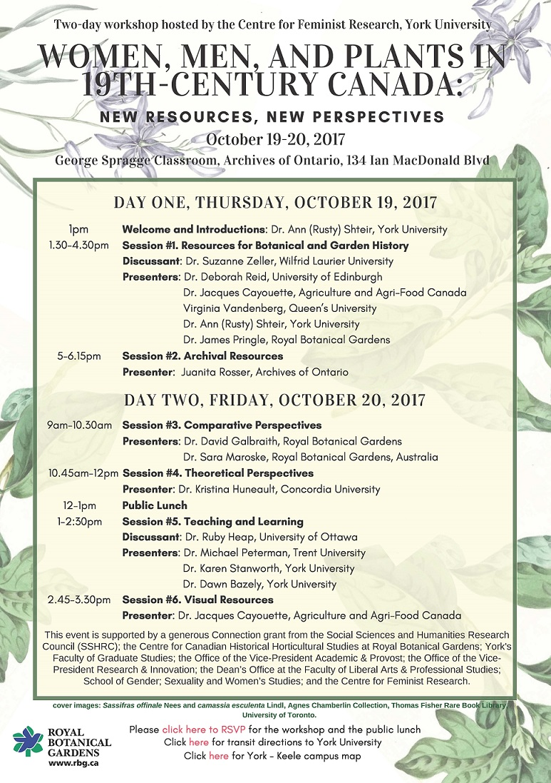 Women, Men, and Plants in 19th-Century Canada:  New Resources, New Perspectives @ George Spragge Classroom, Archives of Ontario