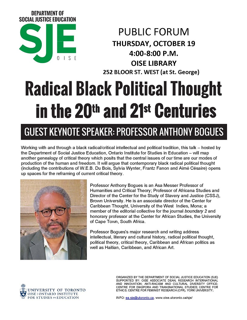 CFR Co-Sponsored: Radical Black Political Thought in the 20th and 21st Centuries @ OISE @ OISE Library, | Toronto | Ontario | Canada