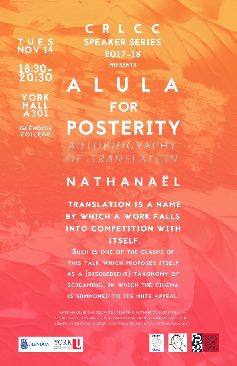 Alula for Posterity: Autobiography of Translation-A Talk by Nathanaël