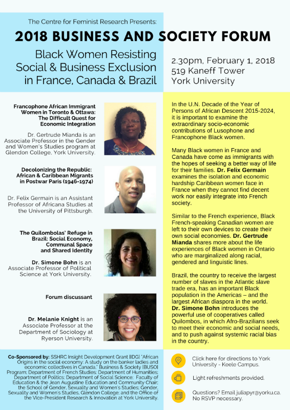 CFR Presents: 2018 Business and Society Forum:  Black Women Resisting Social & Business Exclusion in France, Canada and Brazil @ 519 Kaneff Tower | Toronto | Ontario | Canada