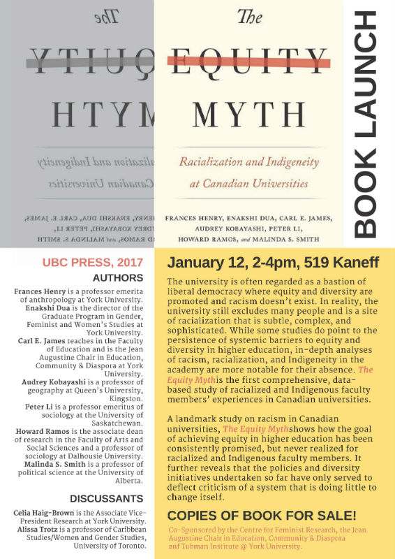 CFR Presents: BOOK LAUNCH! The Equity Myth: Racialization and Indigeneity at Canadian Universities, January 12, 2pm @ 519 Kaneff @ 519 Kaneff Tower | Toronto | Ontario | Canada