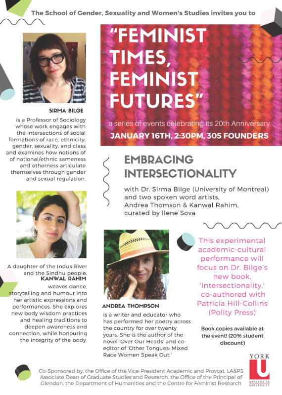 School of Gender, Sexuality and Women's Studies Anniversary: Feminist Times, Feminist Futures, January 16, 2018 @ Founders College Room 305 | Toronto | Ontario | Canada
