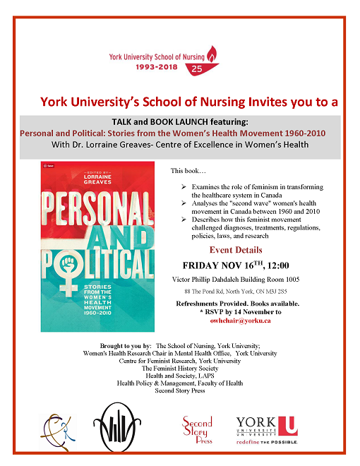 CFR Co-Sponsored: Personal and Political: Stories from the Women's Health Movement 1960-2010 @ Victor Phillip Dahdaleh Building, Room 1005  | Toronto | Ontario | Canada
