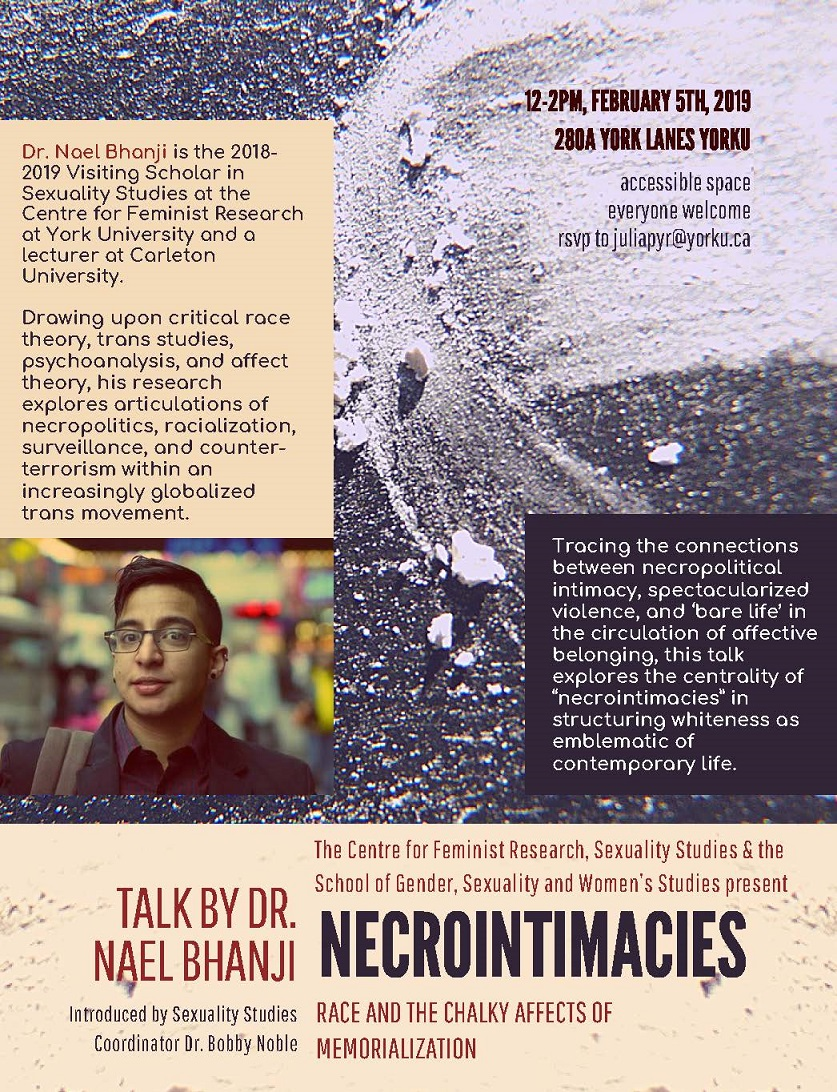 Trans Necrointimacies: Race and the Chalky Affects of Memorialization @ 280A York Lanes