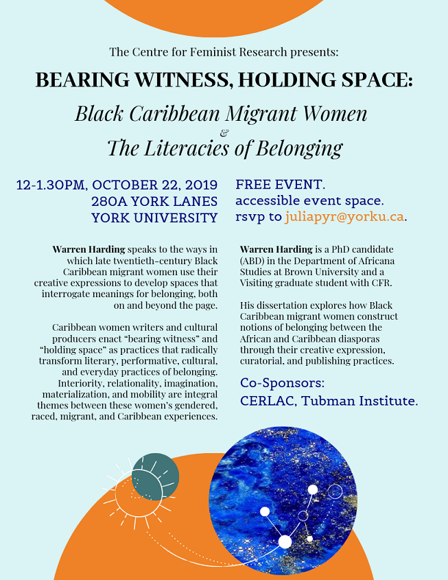 "CFR Presents: ""Bearing Witness, Holding Space: Black Caribbean Migrant Women and The Literacies of Belonging"" talk by Warren Harding @ 280A York Lanes"