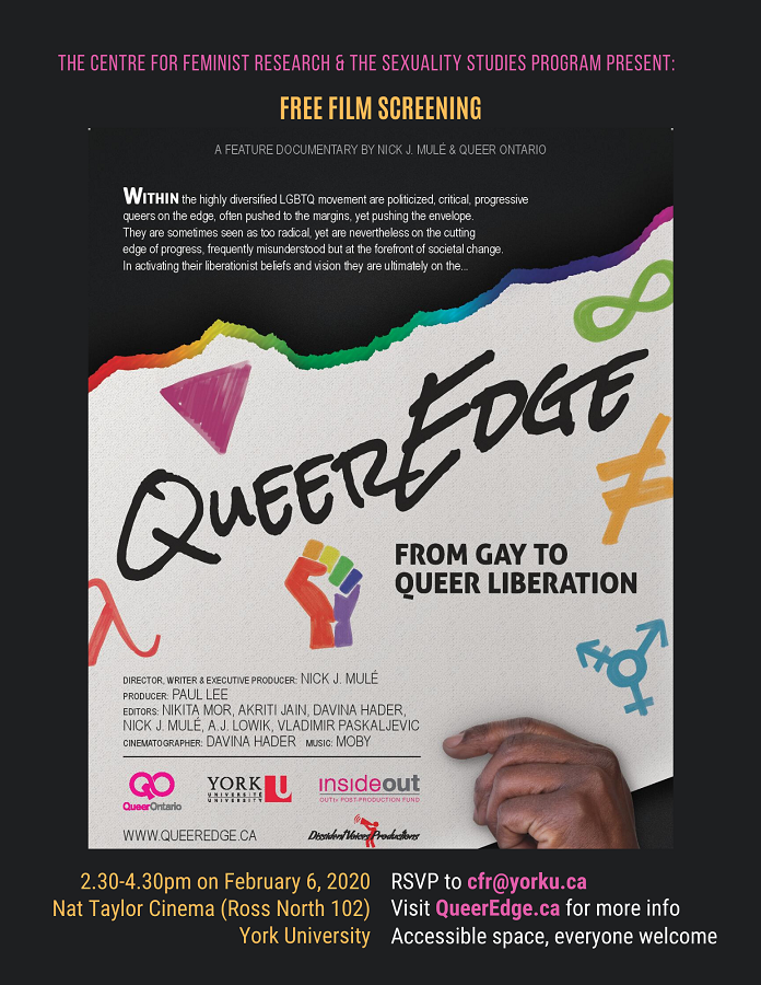 CFR Co-Sponsored: FILM SCREENING of QueerEdge: From Gay to Queer Liberation (2019) @ Nat Taylor Cinema (Ross North 102), York University